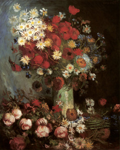 Art Prints of Vase with Poppies, Daisies, Cornflowers and Peonies by Vincent Van Gogh