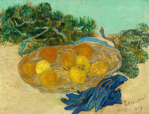Art Prints of Still Life of Oranges and Lemons with Blue Gloves by Vincent Van Gogh