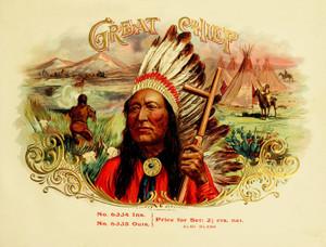 Art Prints of Great Chief Cigars, Vintage Cigar Label