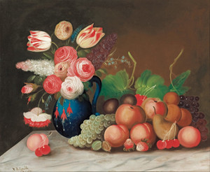 Art Prints of Still Life with Fruit and Flowers by W. B. Gould
