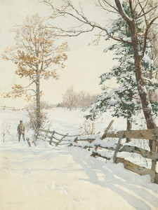 Art Prints of Hunter and Dog in Snow by Walter Launt Palmer