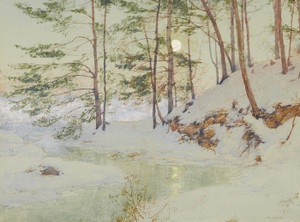 Art Prints of Moonlit Winter Night by Walter Launt Palmer
