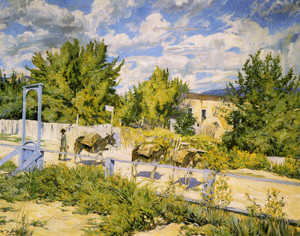 Art Prints of Down a Hillside in Taos by Walter Ufer