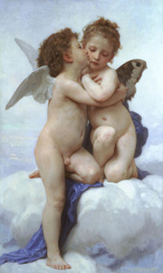 Art Prints of First Kiss or Cupid and Psyche as Children by William Bouguereau