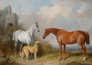 Art Prints of A Grey and Chestnut Hunter with a Deerhound by William Barraud