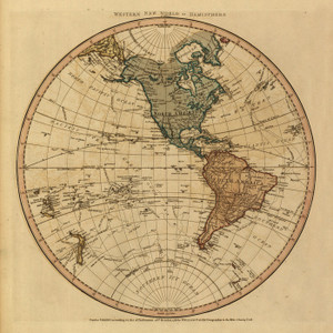 Art Prints of Western New World or Hemisphere, 1786 by William Faden