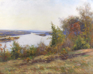 Art Prints of Autumn Trees Overlooking a River by William Wendt