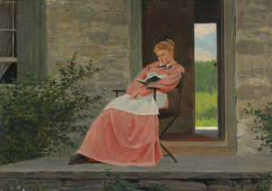 Art Prints of Girl Reading on a Stone Porch by Winslow Homer