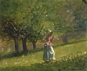 Art Prints of Girl with Hay Rake by Winslow Homer