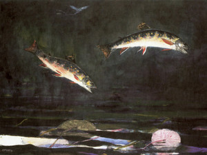 Art Prints of Leaping Trout 2 by Winslow Homer