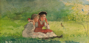 Art Prints of Listening to the Birds by Winslow Homer