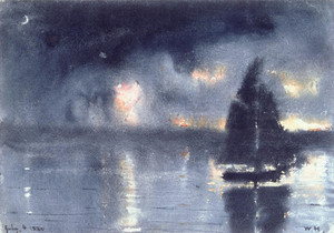 Art Prints of Sailboat and Fourth of July Fireworks by Winslow Homer