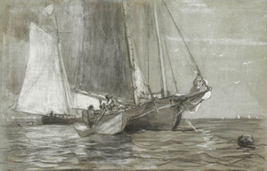 Art Prints of Schooner at Anchor by Winslow Homer