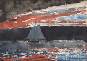 Art Prints of Schooner at Sunset by Winslow Homer
