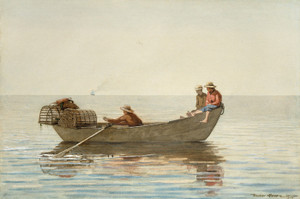 Art Prints of Three Boys in a Dory with Lobster Pots by Winslow Homer