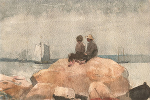 Art Prints of Two Boys Watching Schooners by Winslow Homer