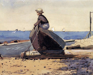 Art Prints of Waiting for Dad by Winslow Homer