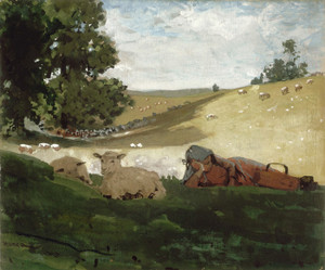Art Prints of Warm Afternoon, a Shepherdess by Winslow Homer
