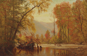Art Prints of Autumn on the Delaware by Worthington Whittredge