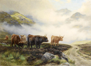Art Prints of Highland Cattle in a Pass by Wright Barker