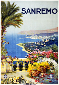 Art Prints of San Remo Travel Poster, 1920, Travel Posters