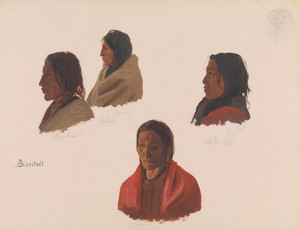 Studies of Indian Chiefs made at Fort Laramie by Albert Bierstadt   Fine Art Print
