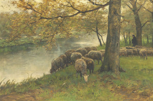 Art Prints of Sheep Watering at the River by Anton Mauve