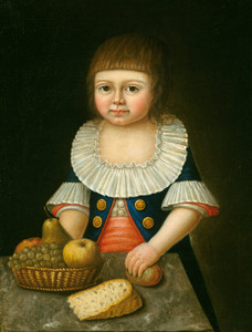Art Prints of Boy with a Basket of Fruit by 18th Century American Artist