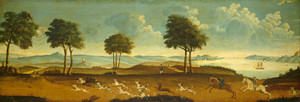 Art Prints of Hunting Scene with a Harbor by 18th Century American Artist