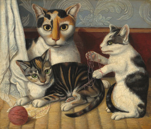 Art Prints of Cat and Kittens by 19th Century American Artist