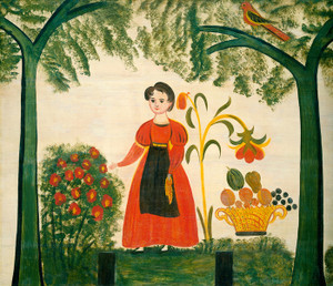 Art Prints of Girl in Red with Flowers by 19th Century American Artist