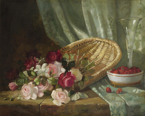 Art Prints of Still Life with Roses and Raspberries by Abbott Fuller Graves
