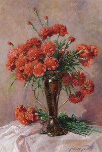 Art Prints of Red Carnations in a Silver Vase by Abbott Fuller Graves