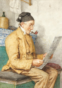 Art Prints of Farmer Sitting by the Tiled Stove, 1907 by Albert Anker
