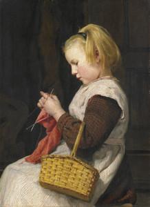 Art Prints of Knitting Girl with Basket by Albert Anker