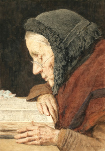 Art Prints of Old Woman Reading the Bible by Albert Anker