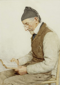 Art Prints of Sitting Bauer Reading, 1904 by Albert Anker