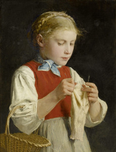 Art Prints of Young Girl Knitting by Albert Anker