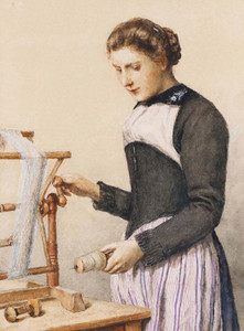 Art Prints of Young Woman at Loom, 1910 by Albert Anker