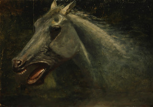A Wild Stallion Sketch for the Last of the Buffalo by Albert Bierstadt | Fine Art Print