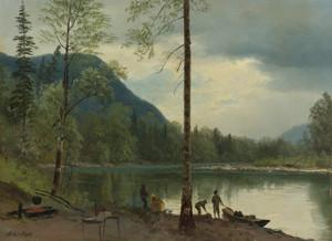 Art Prints of Campers with Canoes by Albert Bierstadt
