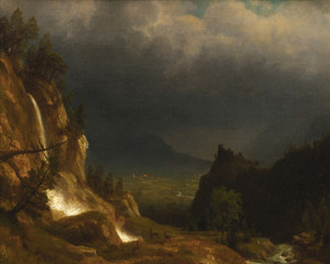 Art Prints of Evening in the Mountains by Albert Bierstadt