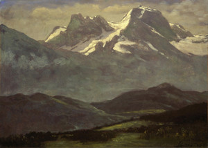 Art Prints of Summer Snow on the Peaks or Snow Capped Mountains by Albert Bierstadt