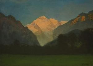 Art Prints of View of Glacier Park or Sunset on the Peak by Albert Bierstadt