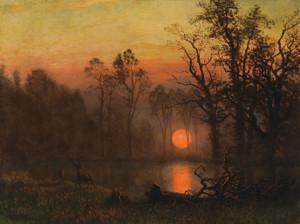 Art Prints of Sunset over the Plains by Albert Bierstadt