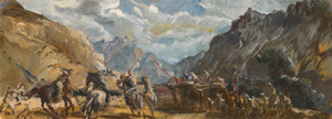 Art Prints of Polo Game at Misgar by Alexander Evgenievich Yakovlev