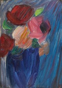 Art Prints of Still Life, Roses in an Ultramarine Blue Vase by Alexej Von Jawlensky