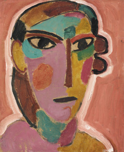 Art Prints of Mystical Woman's Head on Red Ground by Alexej Von Jawlensky