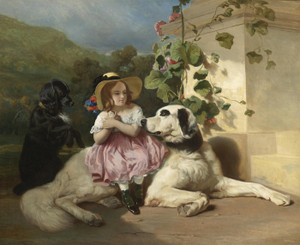 Art Prints of Saint Bernard and Flat-Coated Retriever by Alfred de Dreux