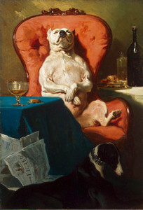 Art Prints of Bulldog in an Armchair by Alfred de Dreux